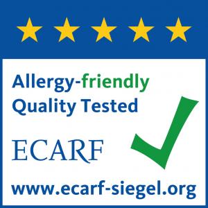 Ecarf - Avrupa Alerjen Araştırma Kurumu tarafından alerji dostu belgesi mevcut